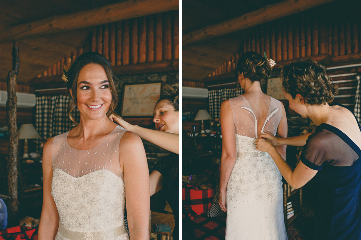 bride getting ready at lake placid lodge