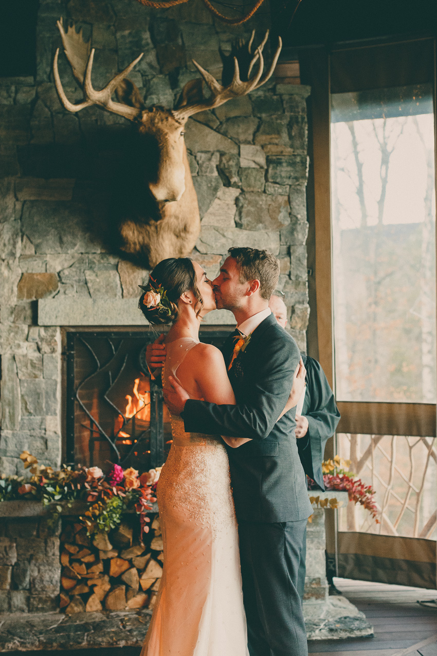 lake placid lodge wedding ceremony photo