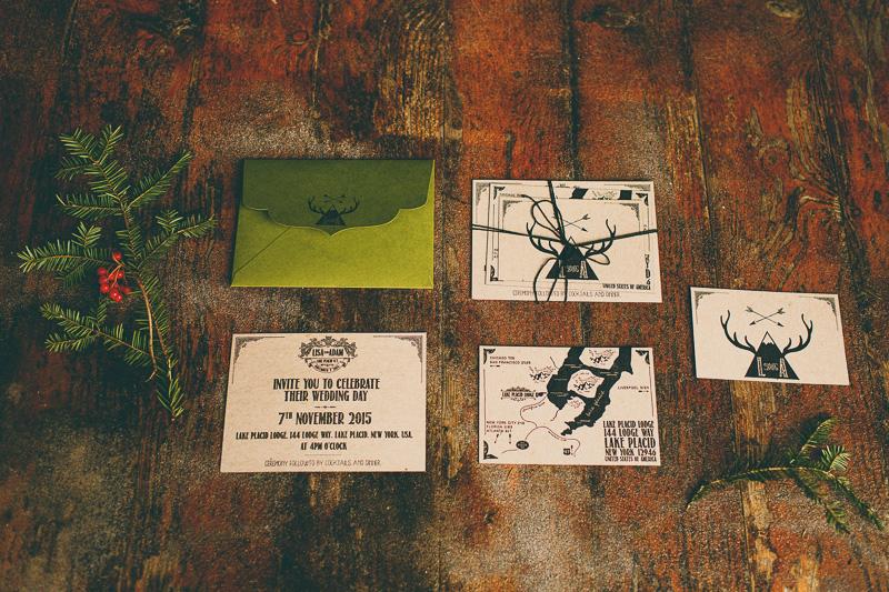 rustic lake placid lodge wedding invitations