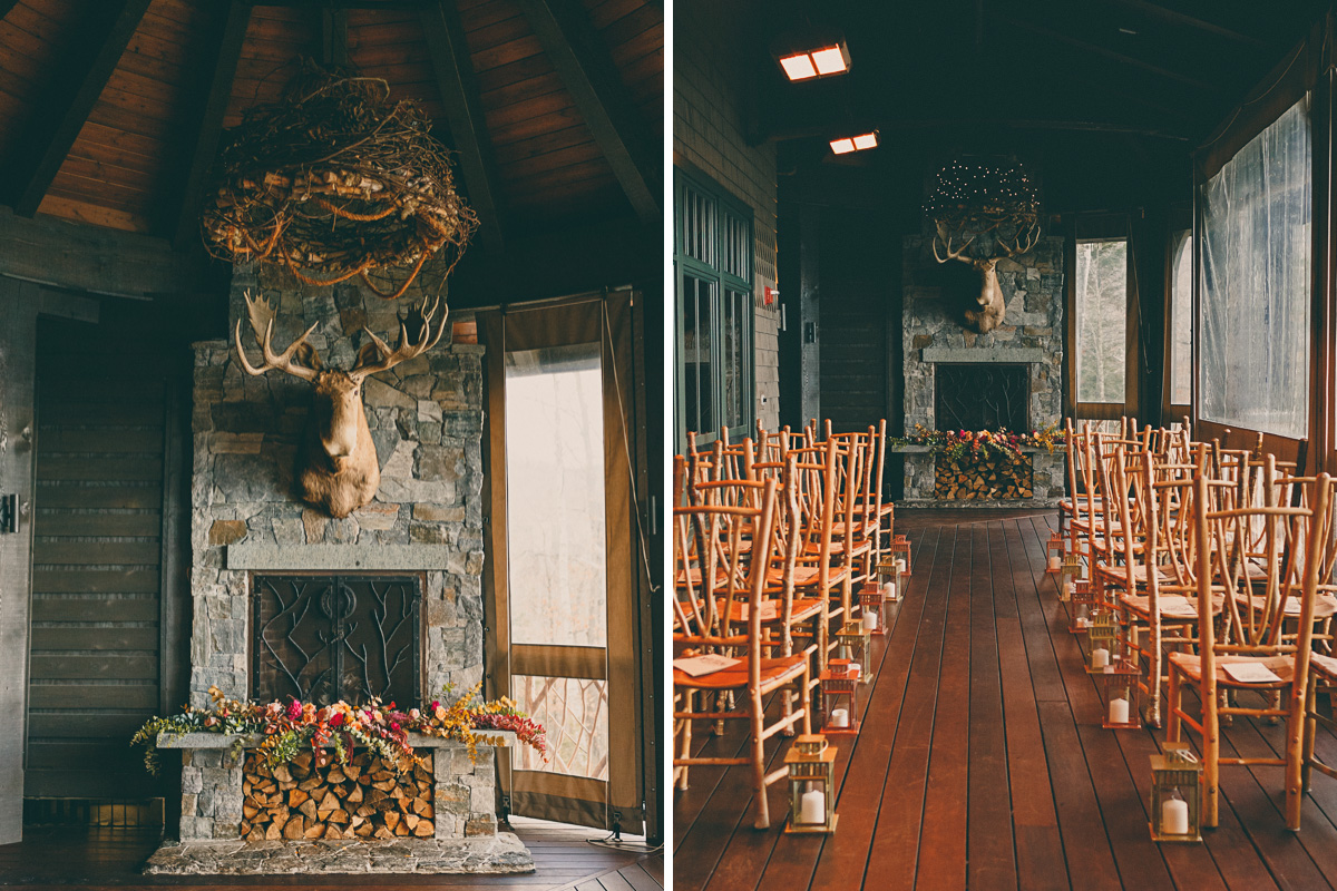 fall lake placid lodge wedding ceremony