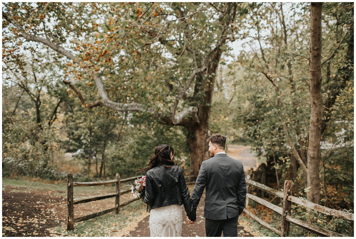 fall wedding photos, bride with leather jacket