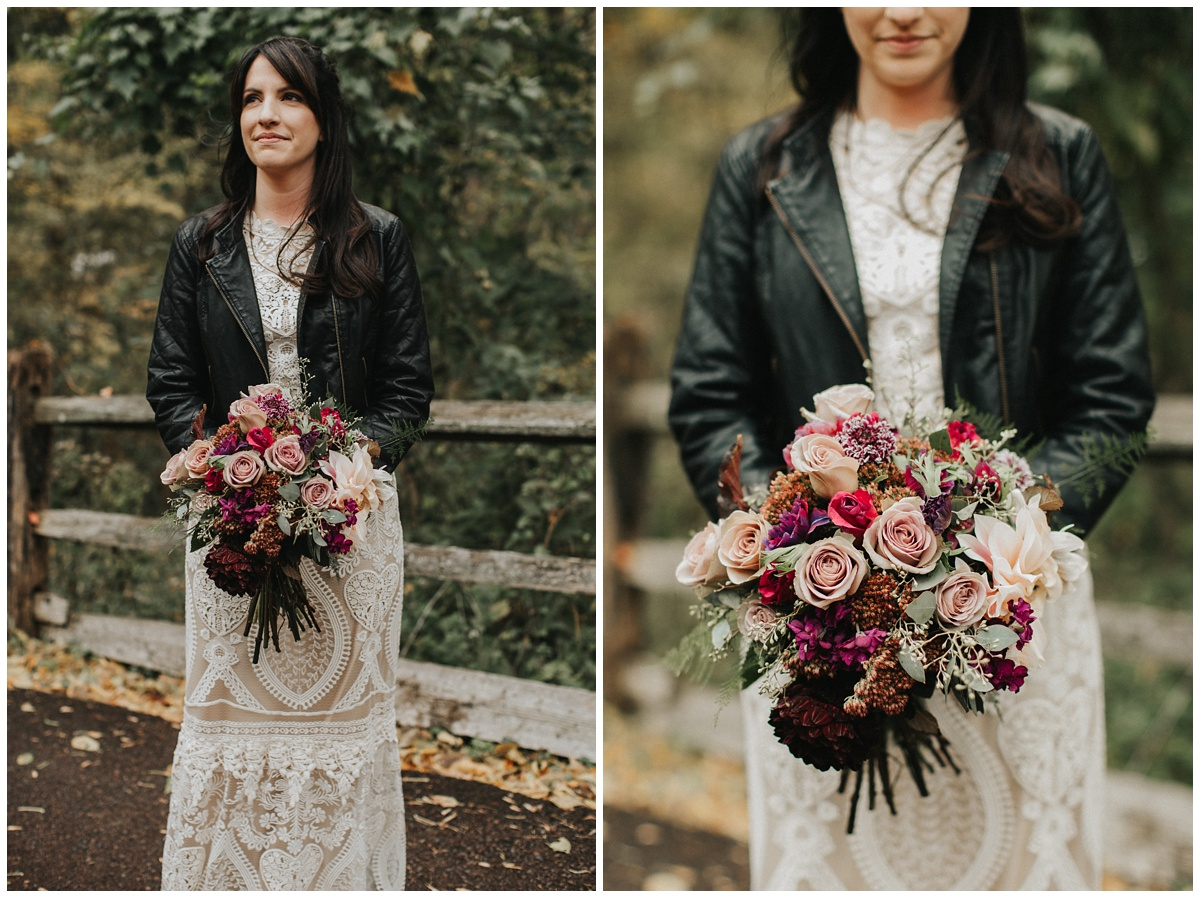 bride with leather jacket, wedding bouquet, faye & renee florals
