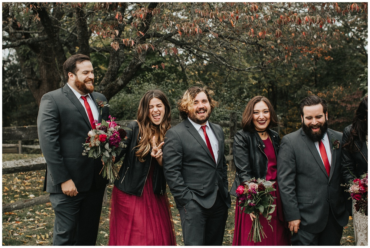 bridal party in leather jackets, biker babe bride