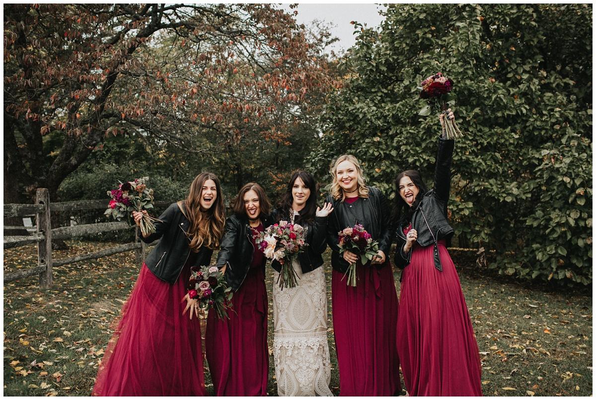 bridesmaids in leather jackets, biker babe bride