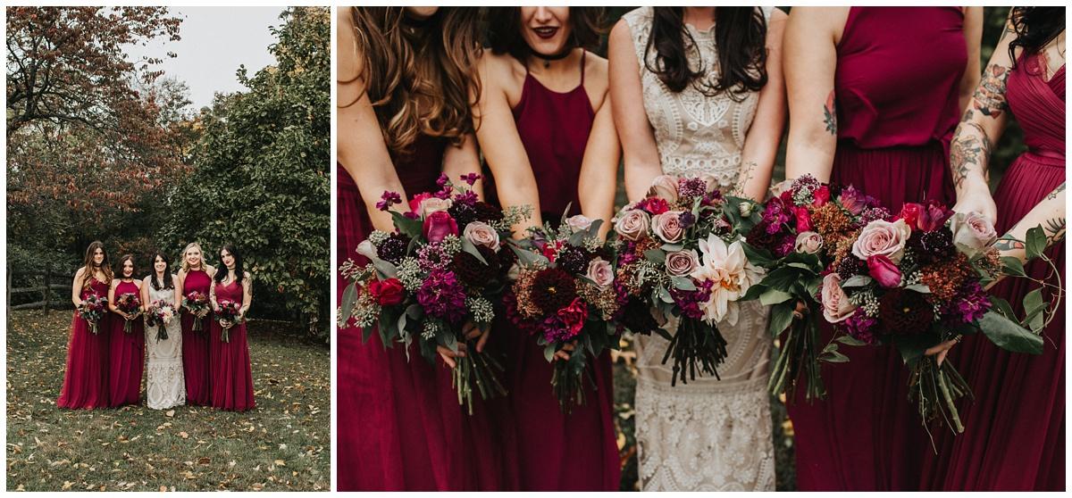 mauve, purple, jewel toned bridesmaids dressed, bhldn