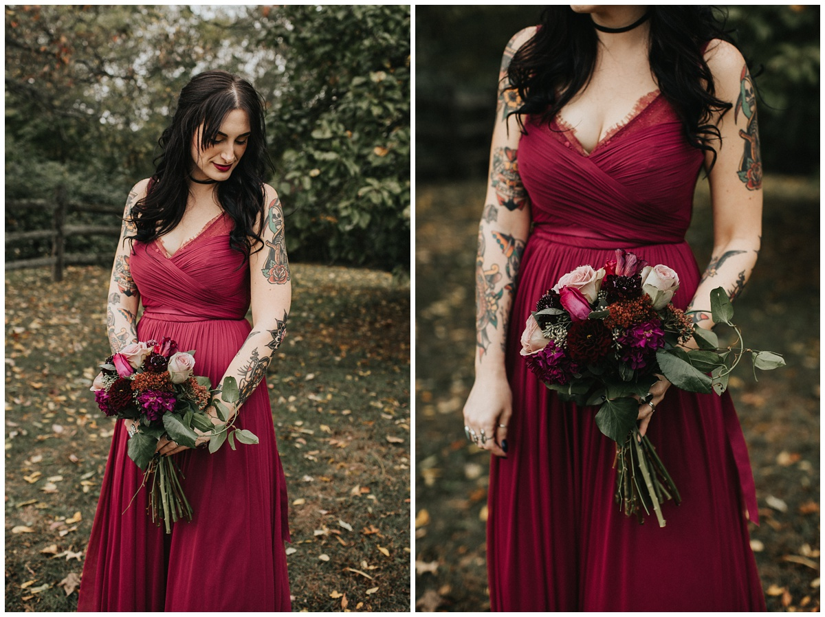 bridesmaids with tattoos, tattoed bride, bhldn