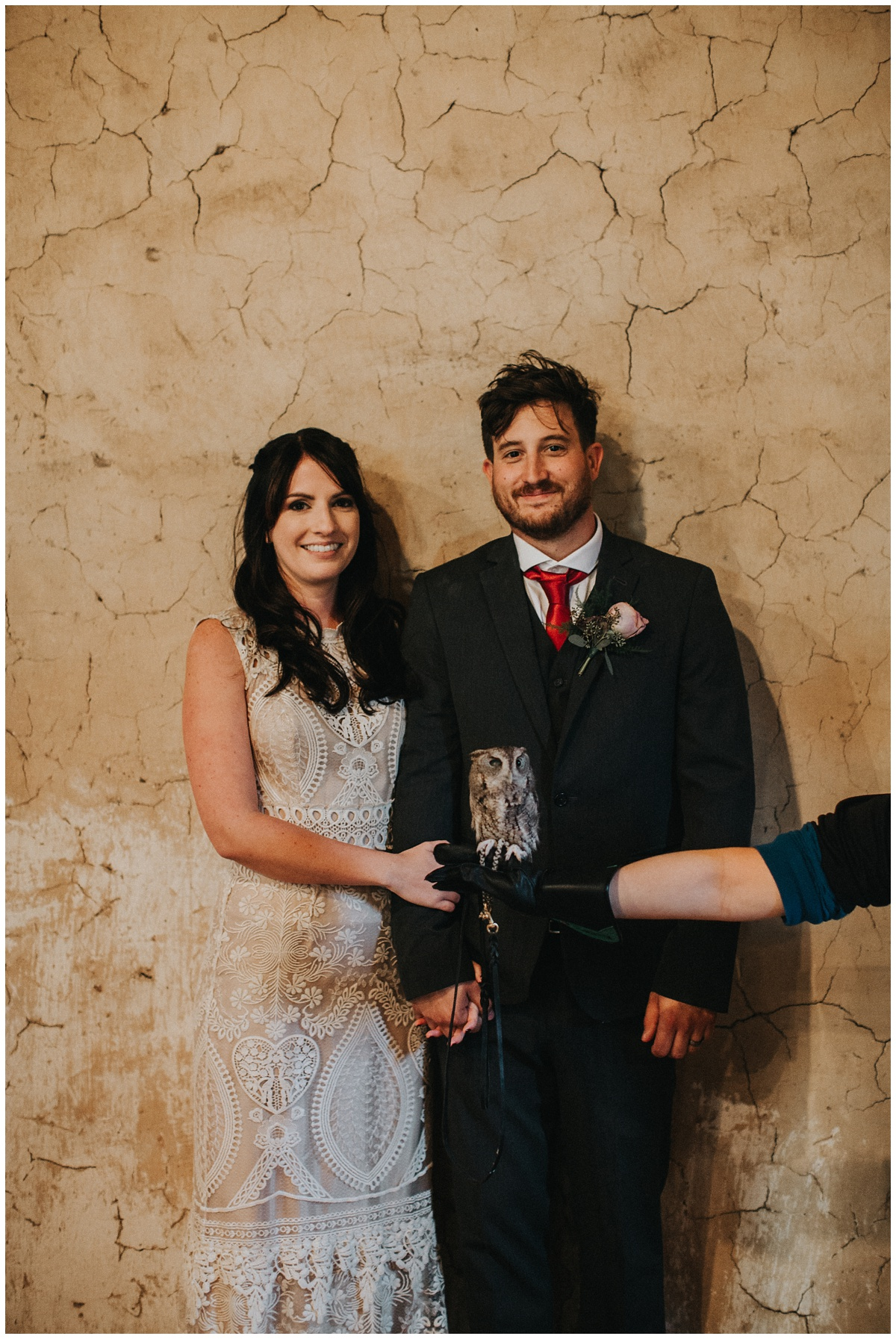 bride and groom with owl