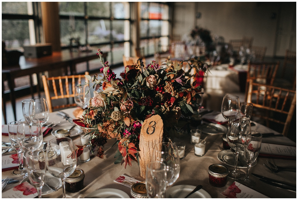 faye and renee floral centerpieces, rustic wood stump centerpiece