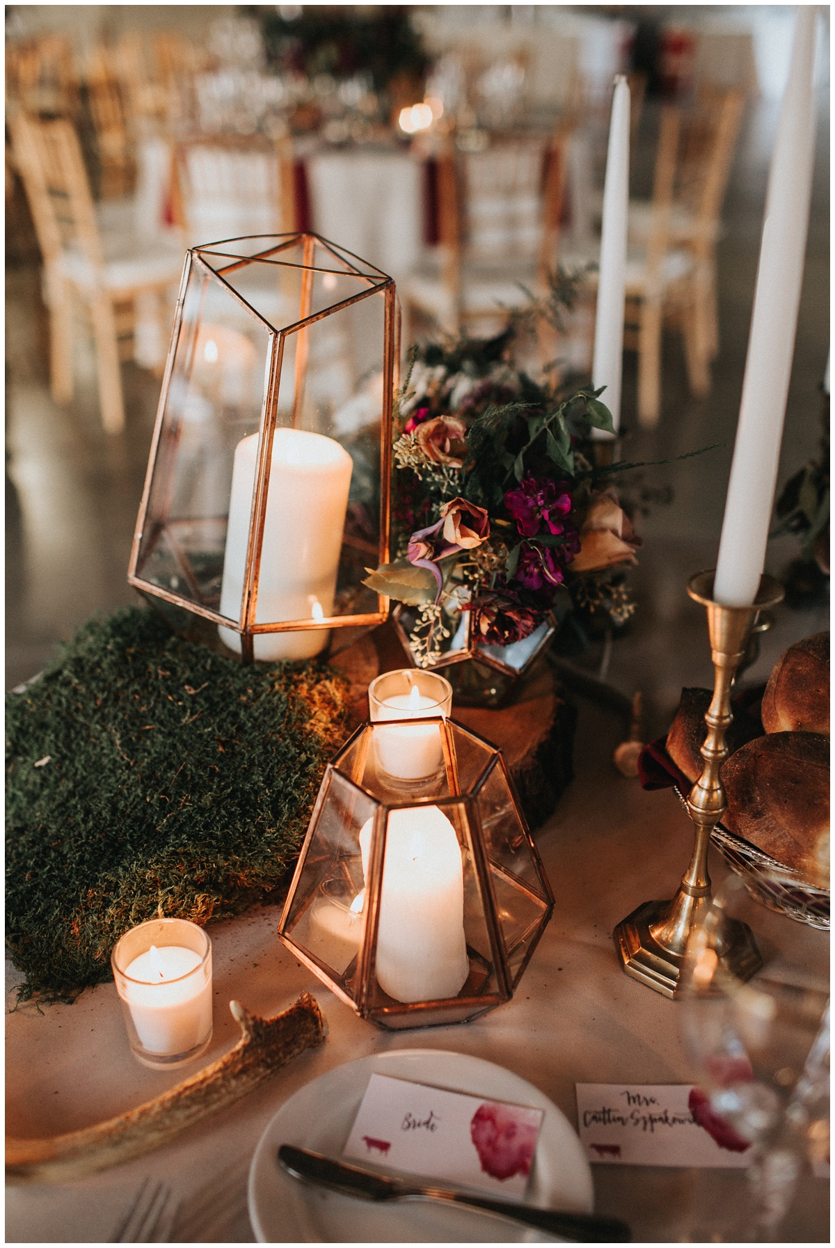 faye and renee floral centerpieces, glass geometric centerpiece