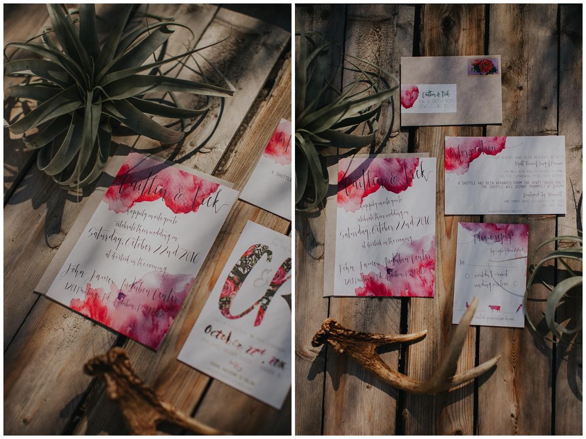 rabbit rabbit watercolor wedding invitations, boho style