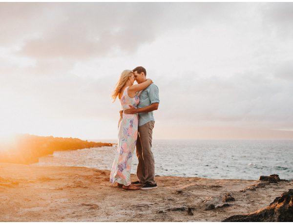 hawaii sunset couple engagement wedding photo