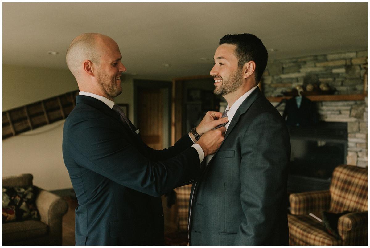groom getting ready at mountain top inn