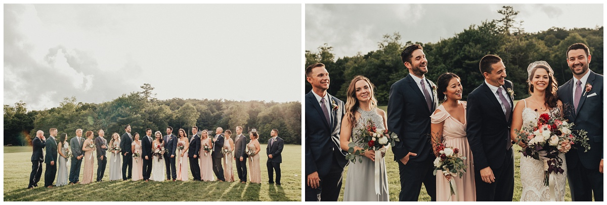 gray and pink blush wedding party