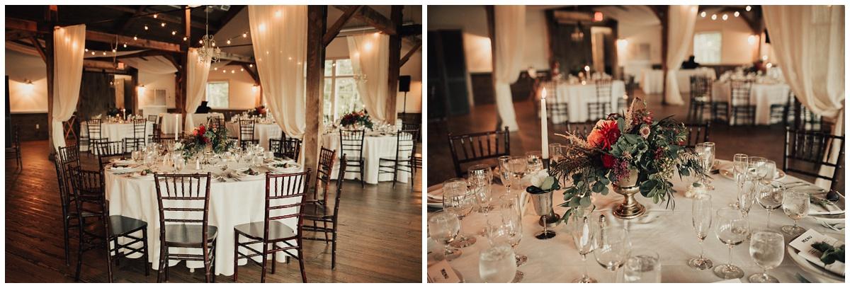 modern barn wedding reception wood table