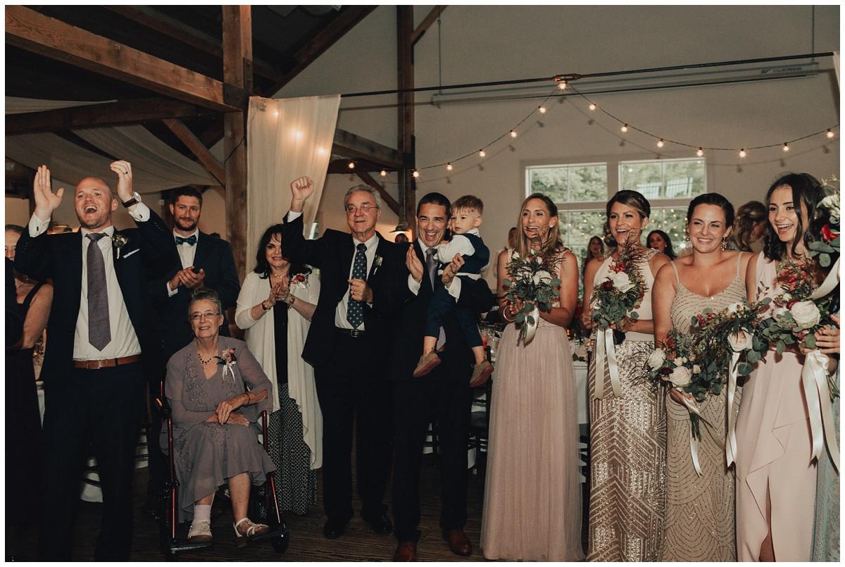 modern barn wedding reception first dance
