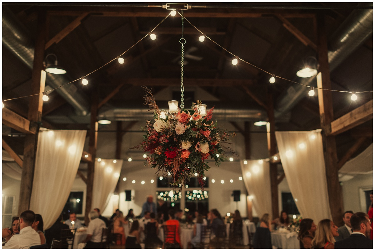 hanging florals from ceiling installation