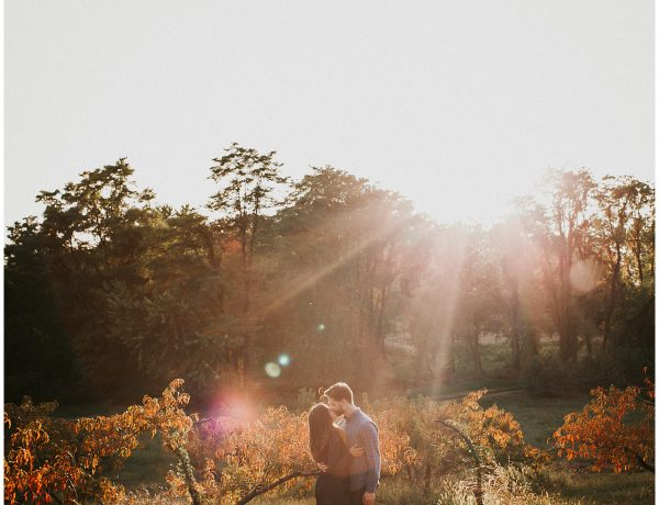 fall sunset sun flare engagement session