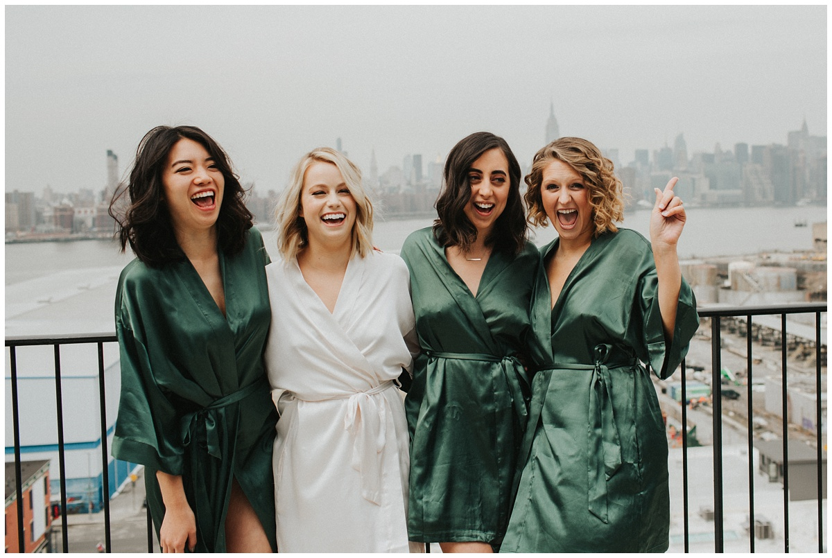 bridesmaids robe photo champagne toast