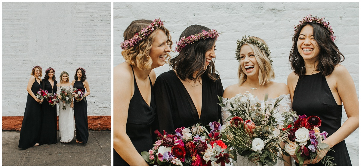 flower crowns on bridesmaids