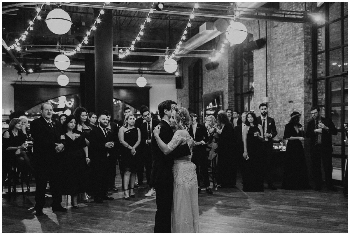 romantic string light reception first dance