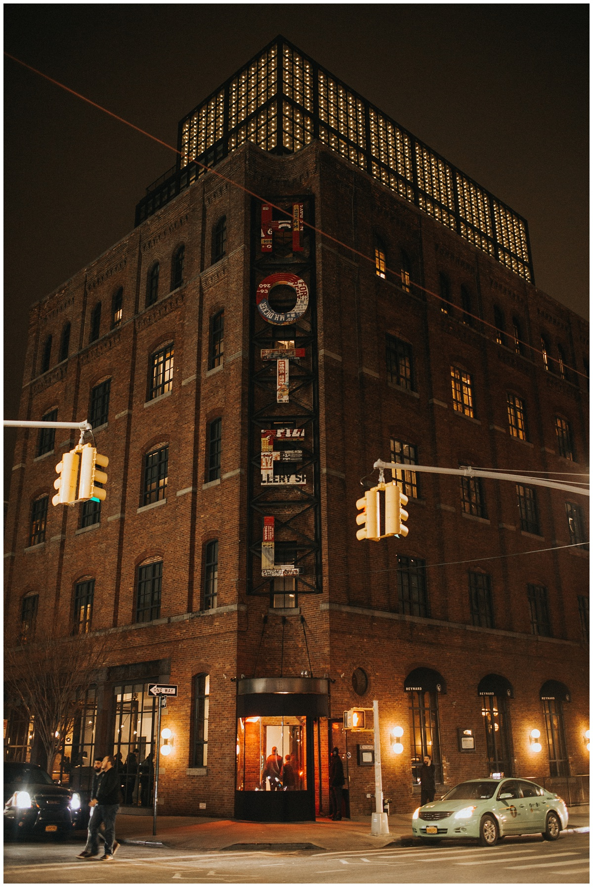 wythe hotel exterior at night