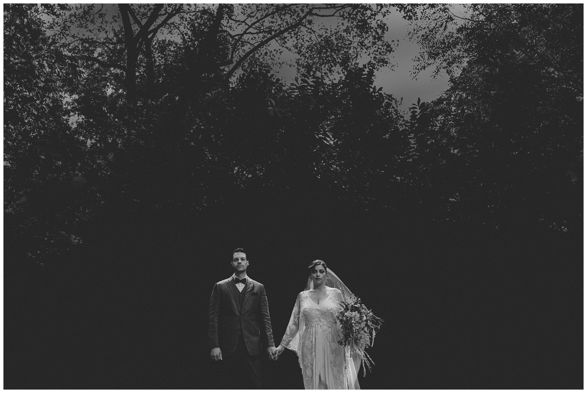 ghostly bride and groom, black and white