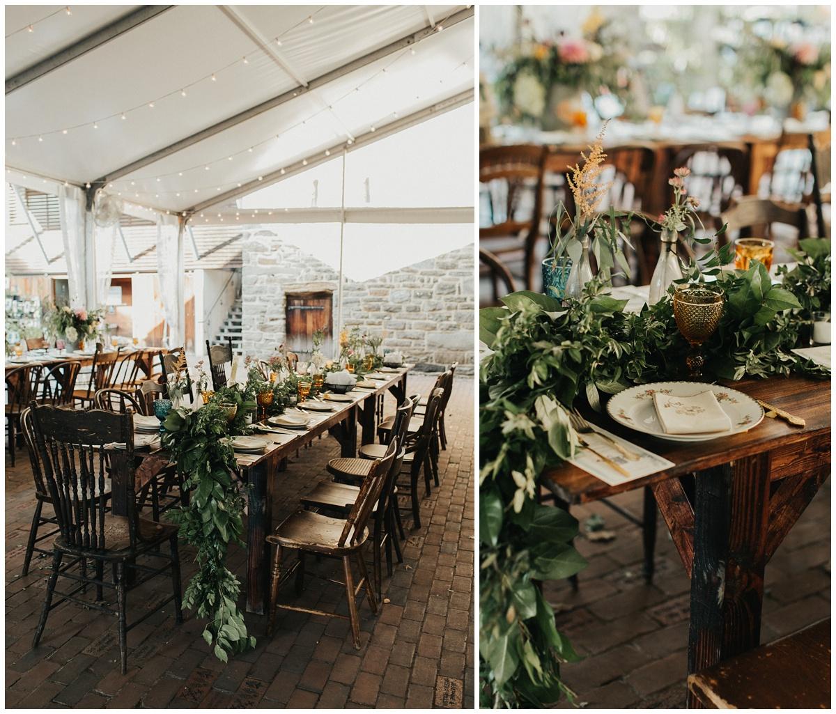 boho chic garden wedding reception