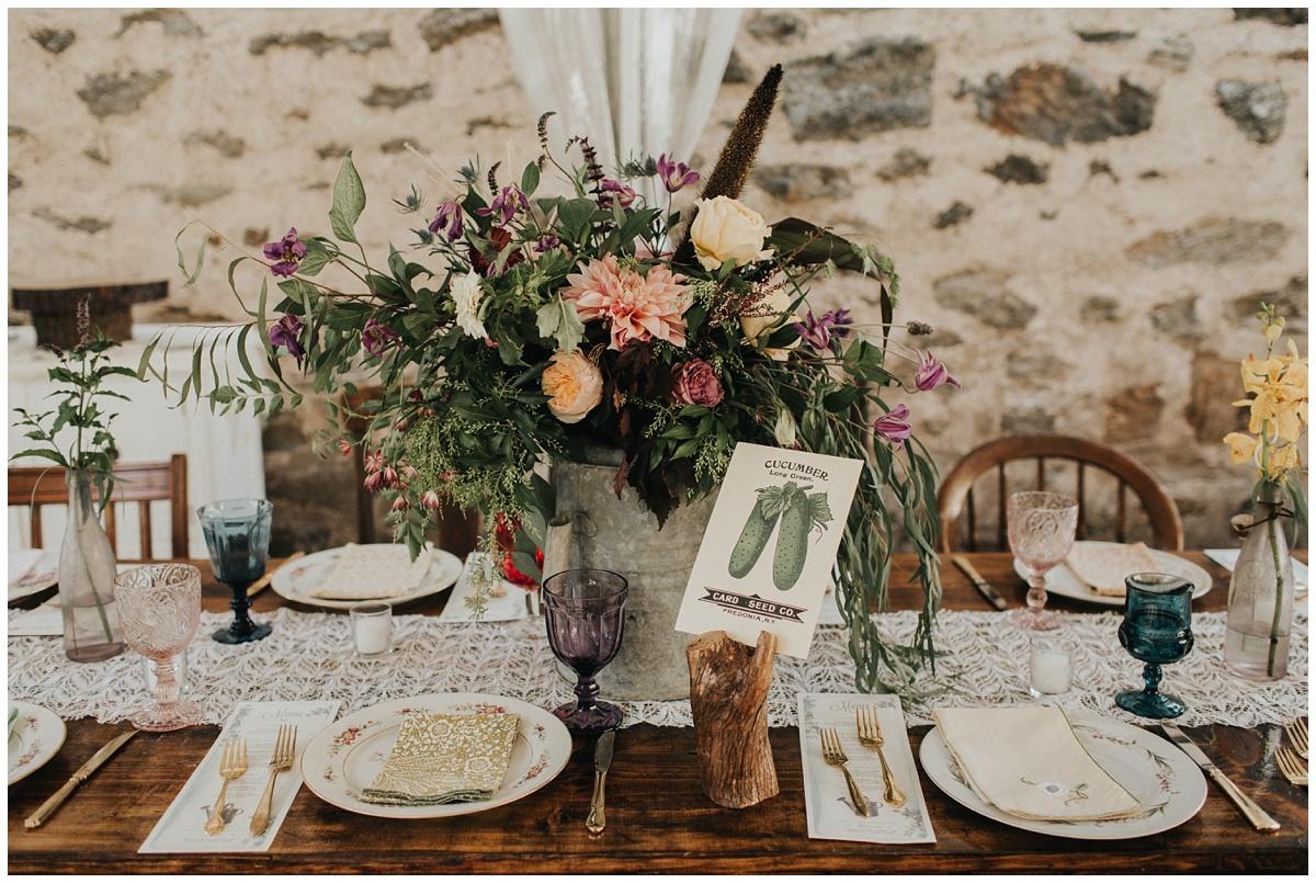 garden watering can wedding centerpiece