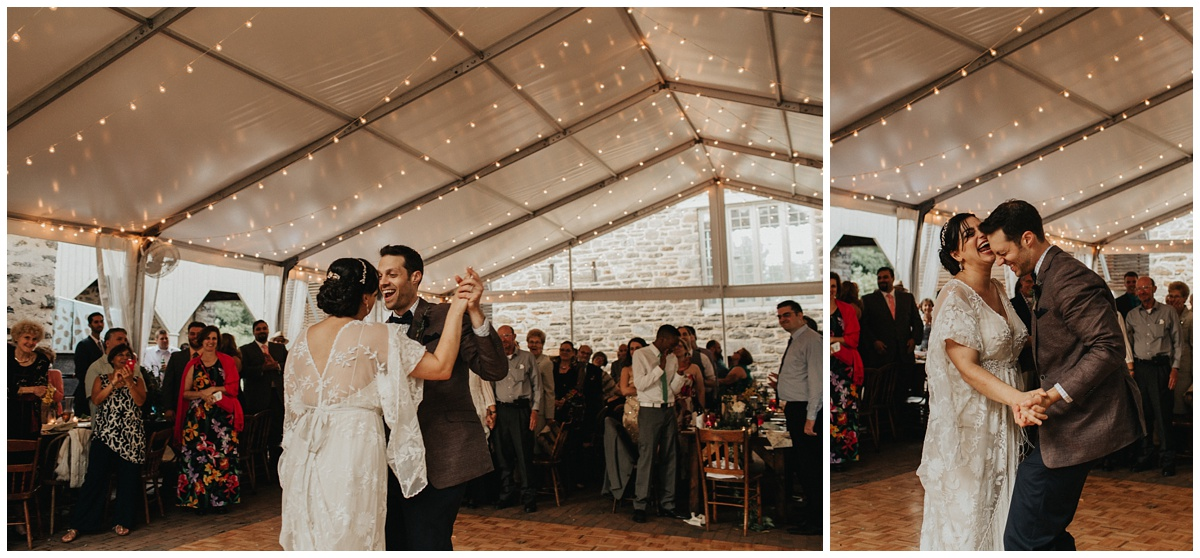 wedding first dance string lights